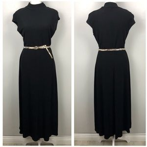 Vintage Black Mock Neck Sleeveless Midi Dress